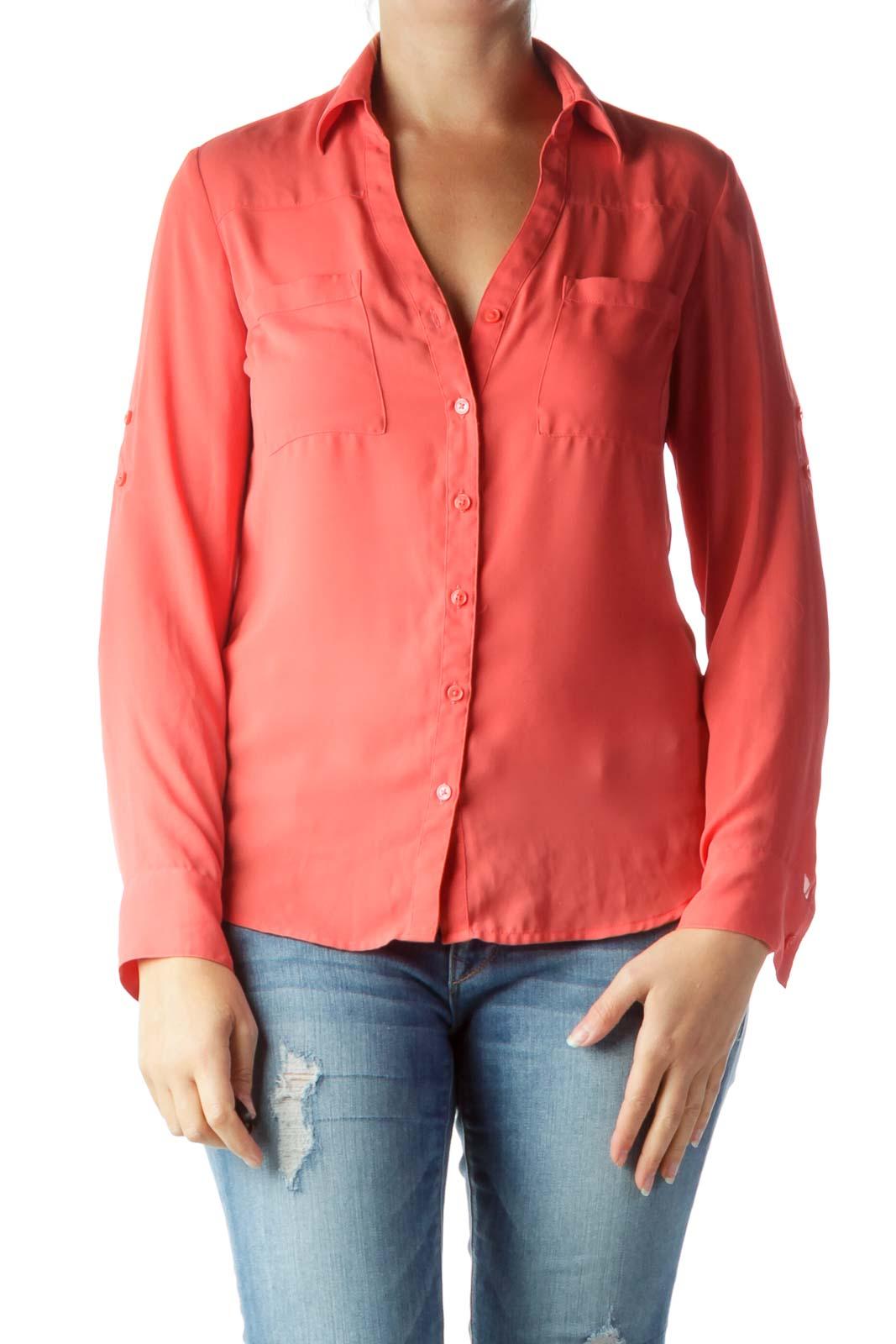 Orange Pocketed Collared Shirt