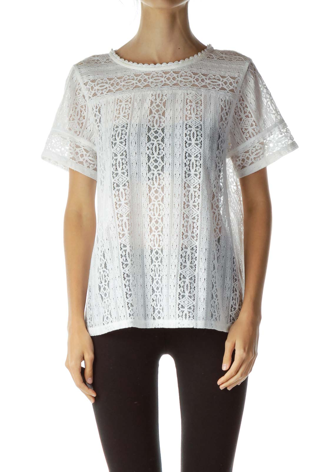 White Lace Short-Sleeve Blouse