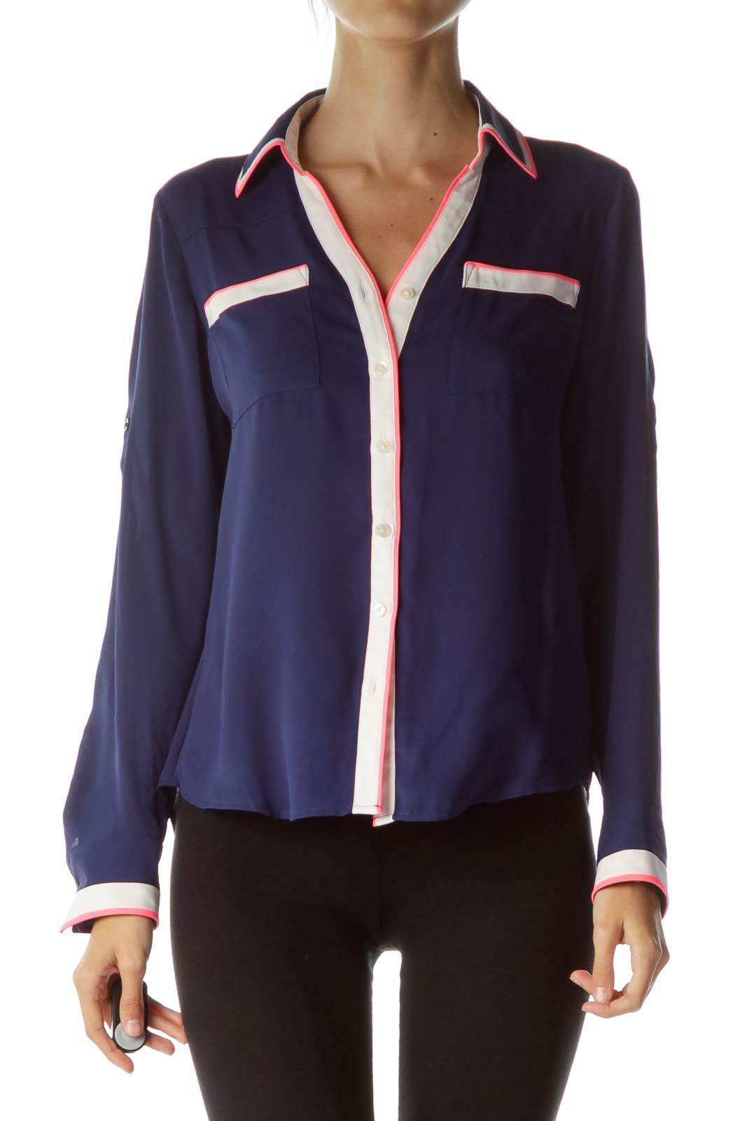 Navy Cream Stripe Detailed Shirt