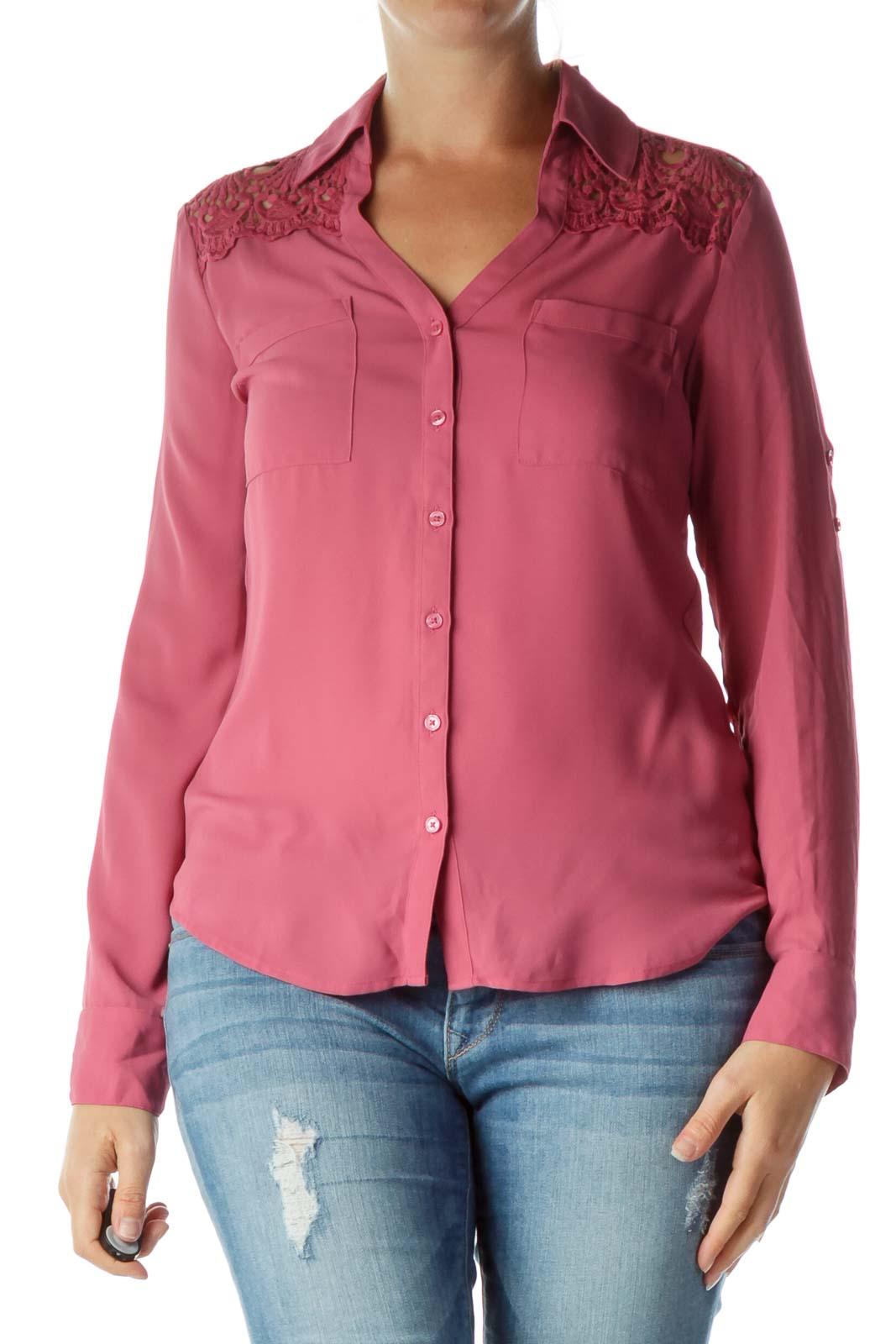 Pink Crocheted Back Shirt