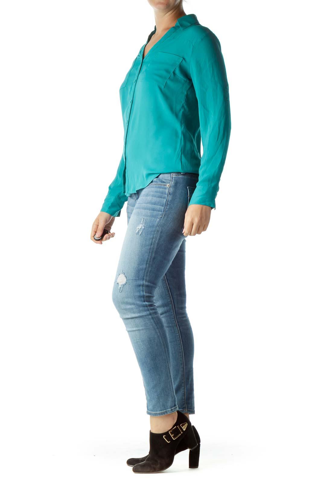 Green Buttoned Collared Shirt