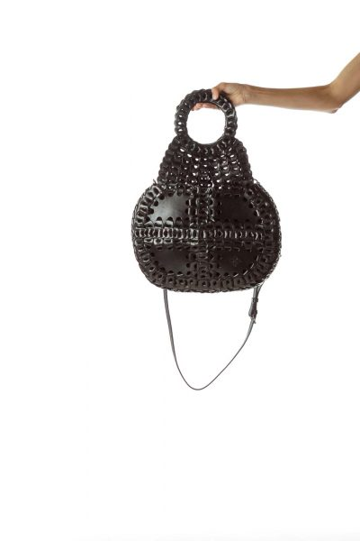 Black Woven Round Handle Leather Bag