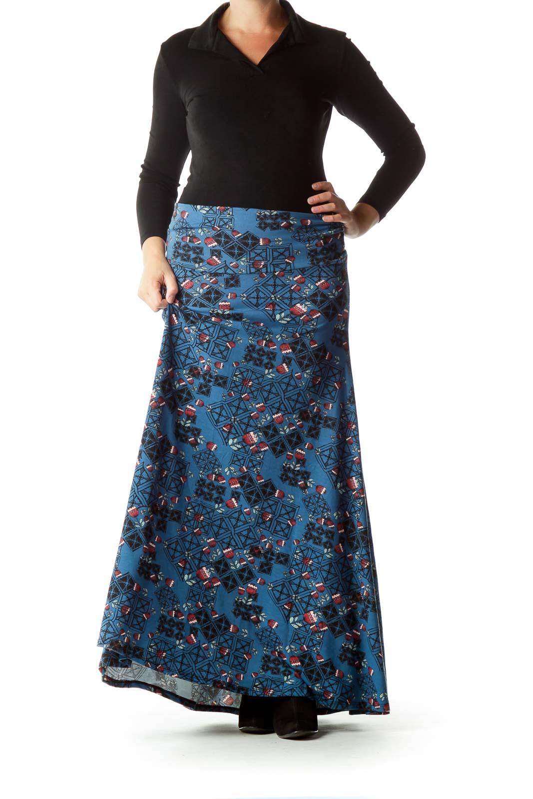 Blue Black Floral Maxi Skirt