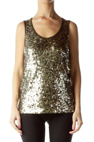 Gold Brown Sequined Tank Top