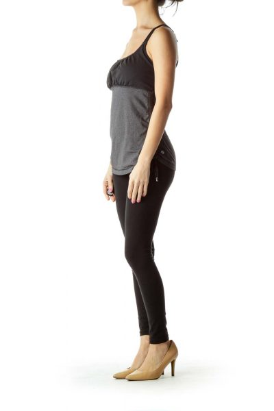 Gray Black Side Scrunched Yoga Top