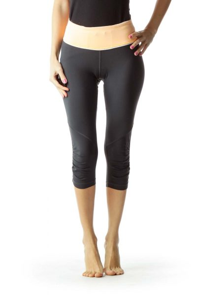 Gray Orange Cropped Yoga Pants