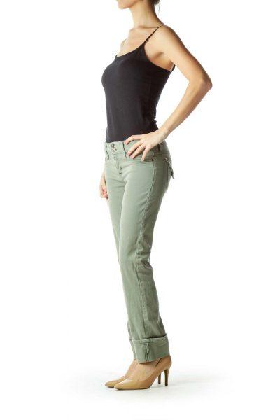 Green Cuffed Skinny Cargo Pants