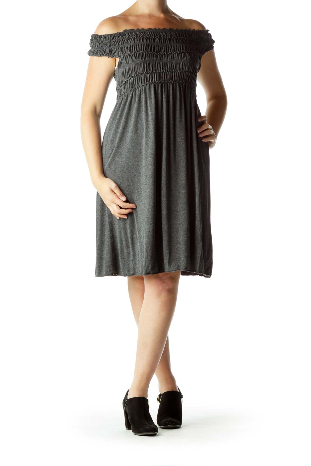Gray Scrunched Off-the-Shoulder Day Dress