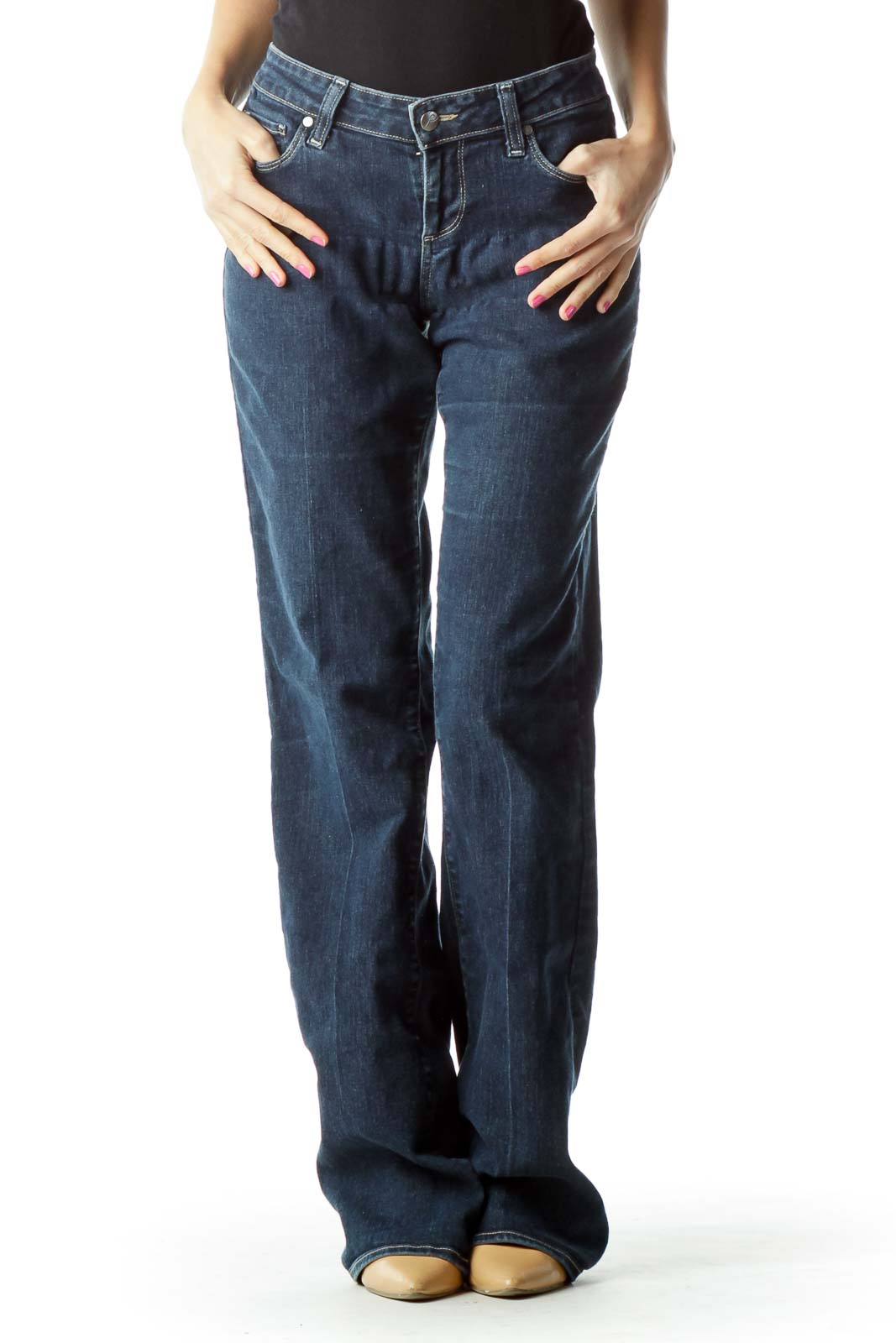 Navy Faded Flared Jeans
