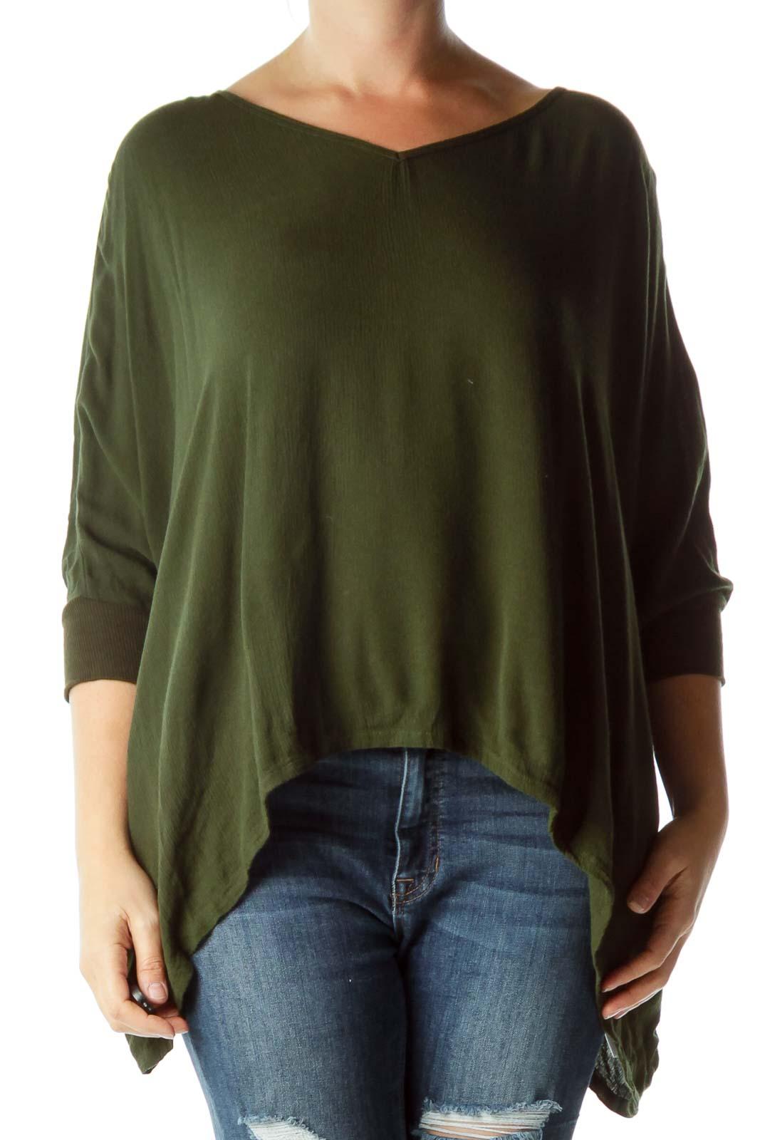Green Bat Sleeve Wide Blouse