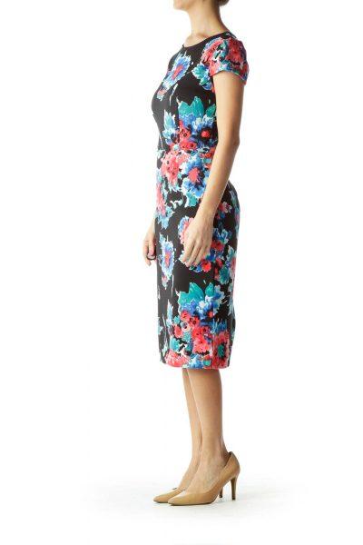 Black Pink Floral Work Dress