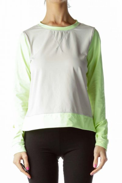 Yellow Gray Long Sleeve Sports Top
