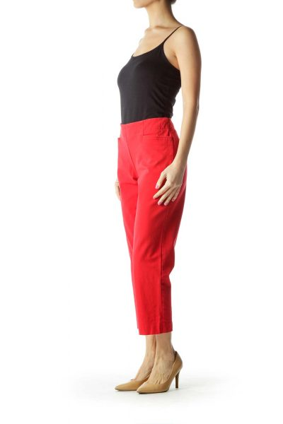 Red Cropped Pocketed Slacks