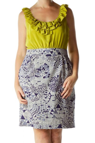 Yellow Blue Ruffled Print Day Dress