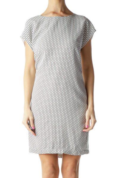 White Black Printed Shift Dress