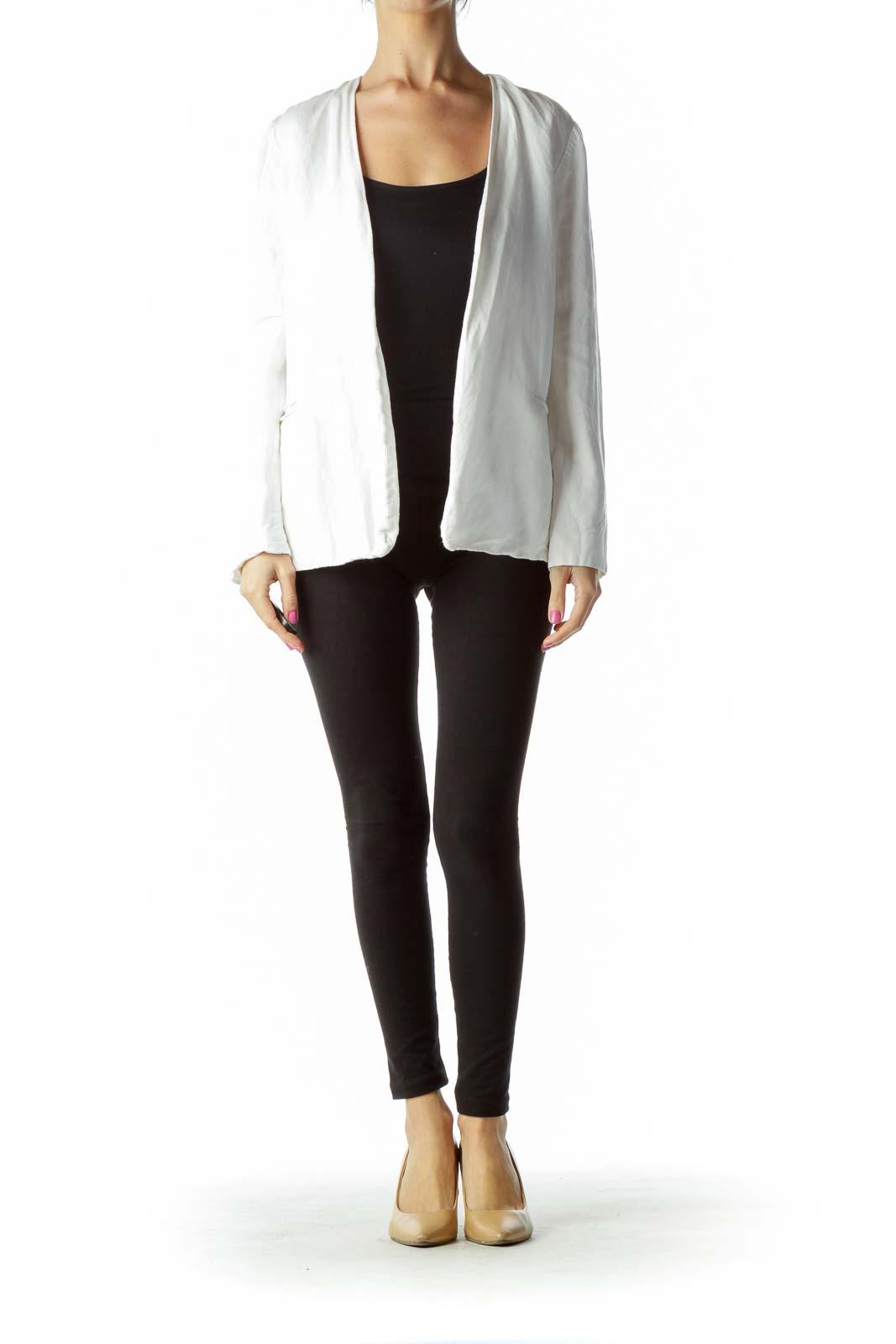 White Open Linen Blazer