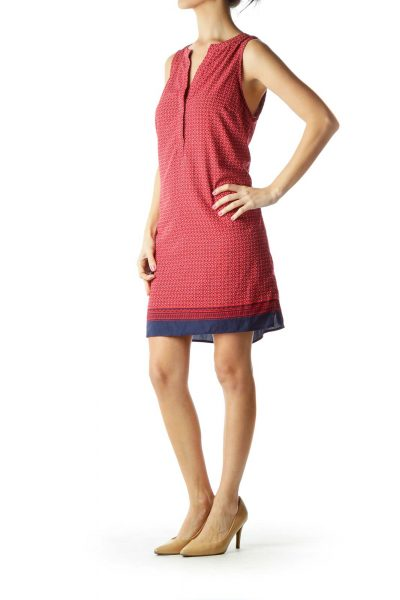 Red Blue Printed Shift Dress