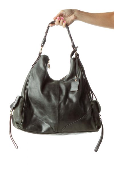 Black Pocketed Shoulder Bag