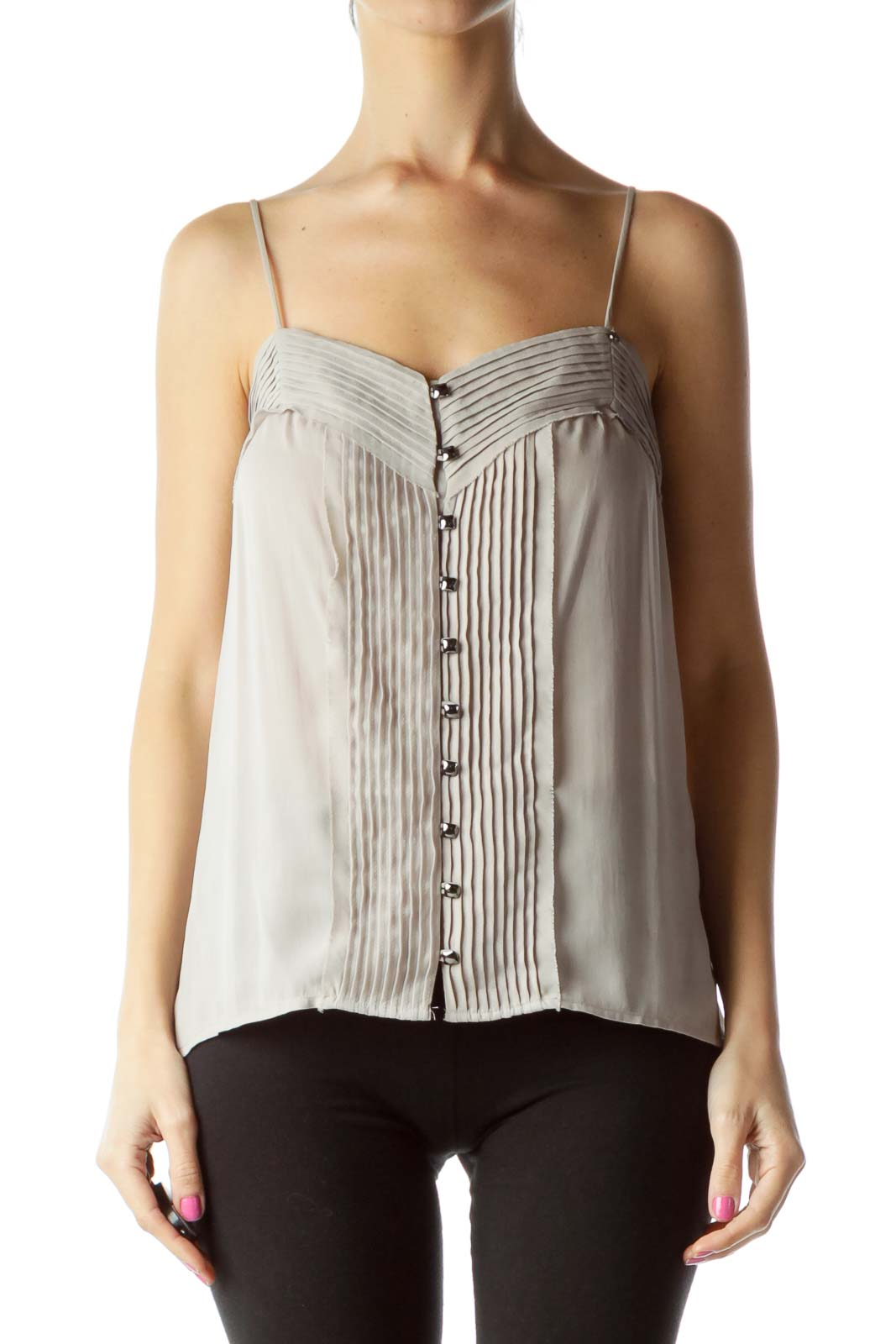Gray Pleated Tank Top