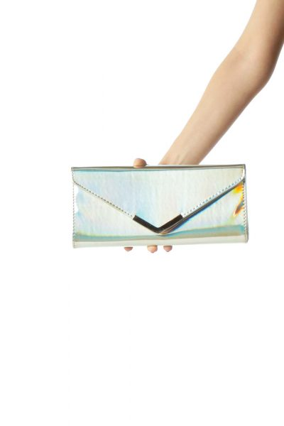 Silver Iridescent Clutch