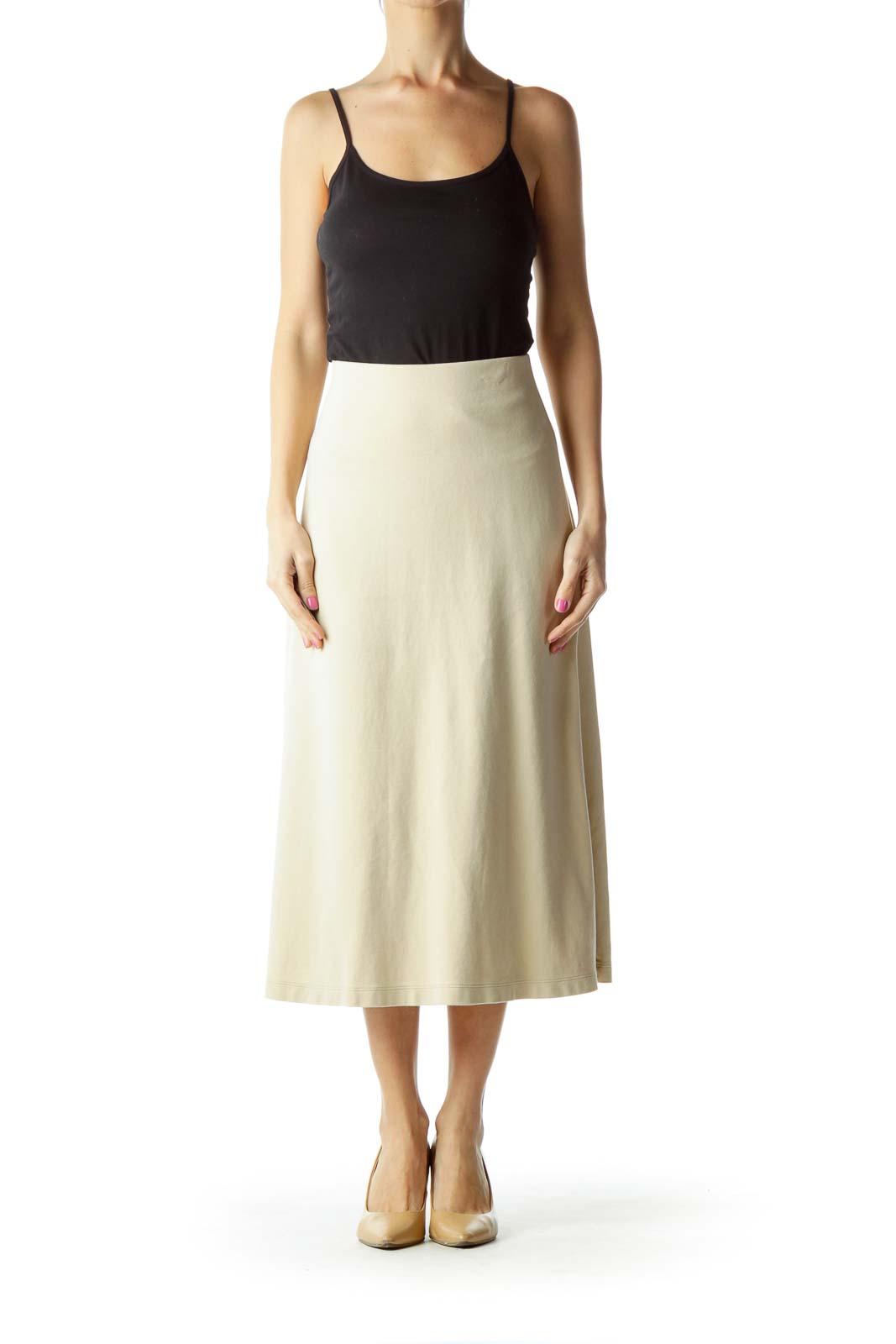 Beige A-Line Maxi Skirt