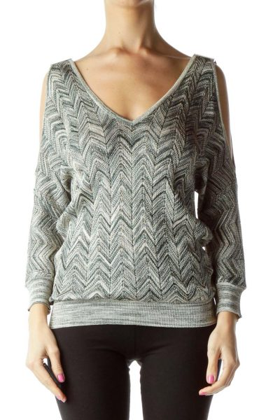 Green Beige Off-Shoulder Metallic Knit Top
