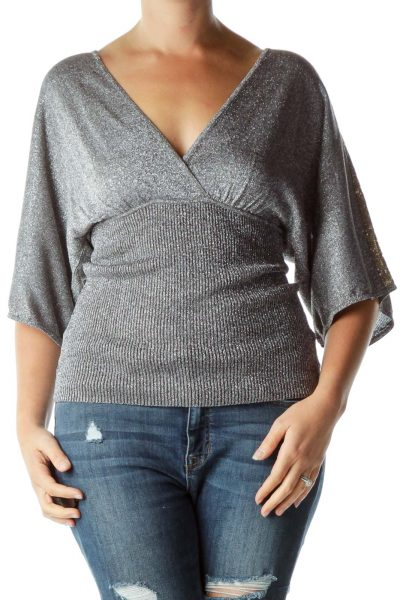 Silver Metallic V-Neck Banded Top
