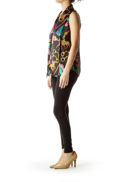 Black Multicolor Printed Blouse with Tie