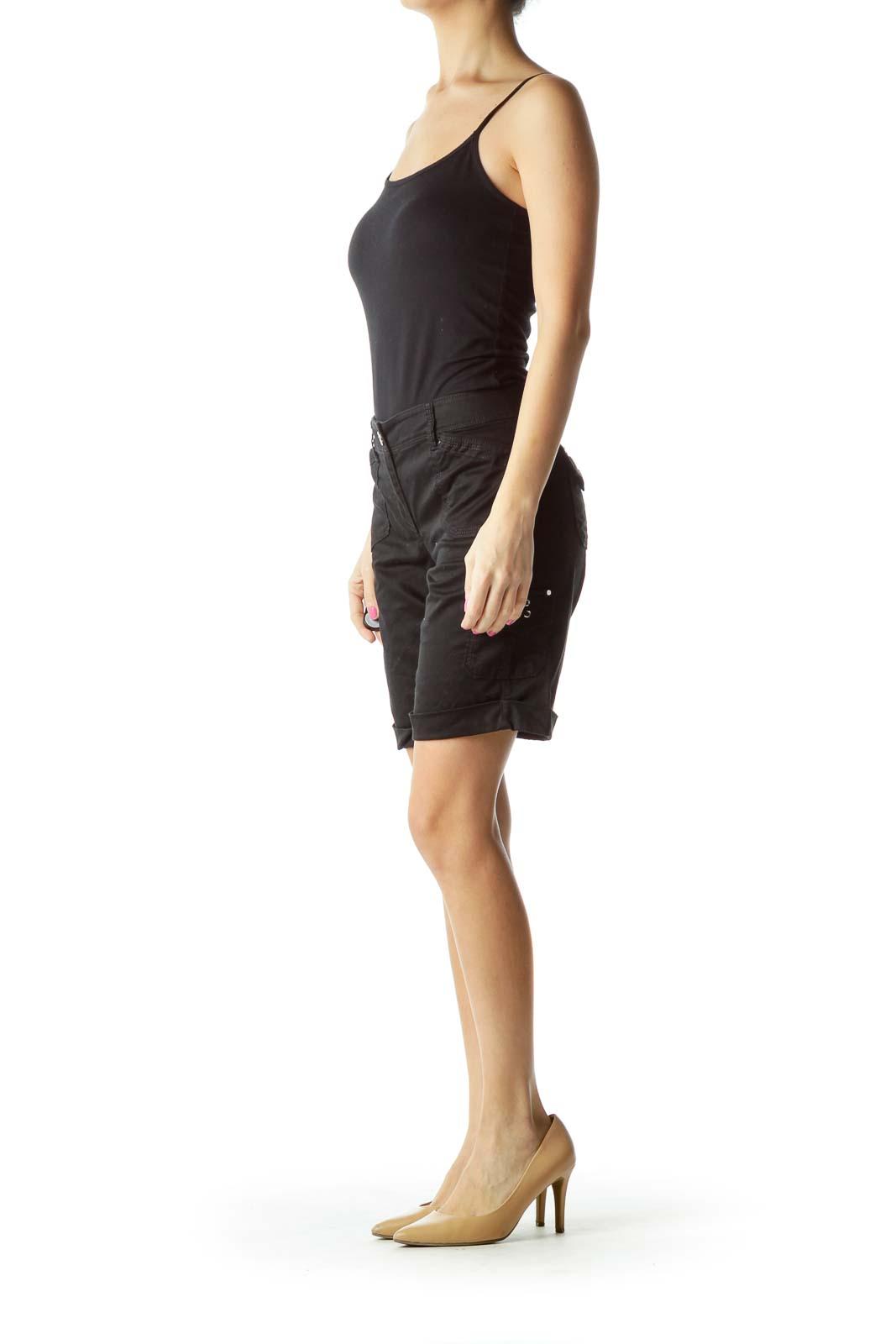 Black Pocketed Cargo Shorts