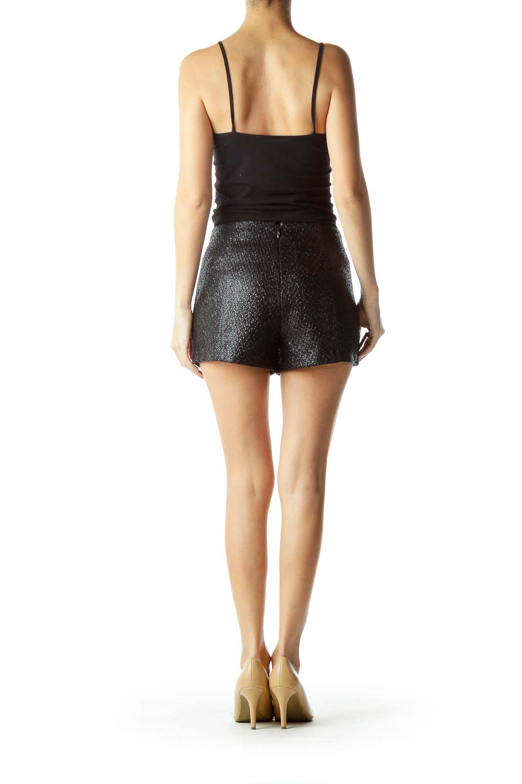 Black Pocketed Textured Shorts
