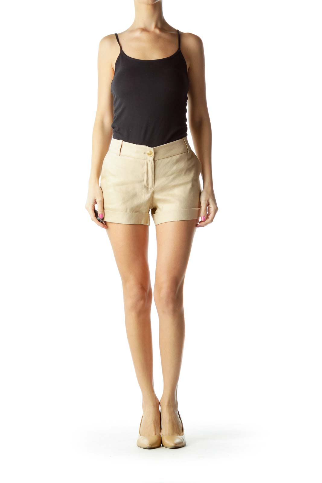 Tan Stitch Detail Shorts
