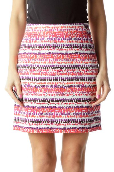 Orange Purple Printed Pencil Skirt