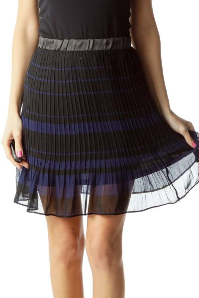 Black Blue Pleated Skirt