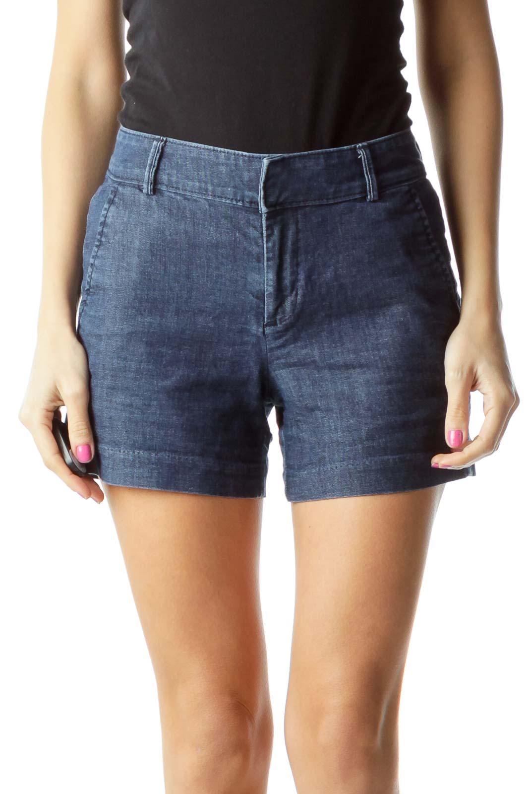 Navy Denim Pocketed Shorts