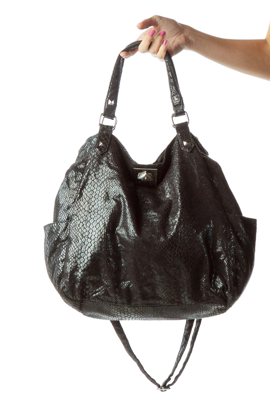 Black Snakeskin Metallic Shoulder Bag