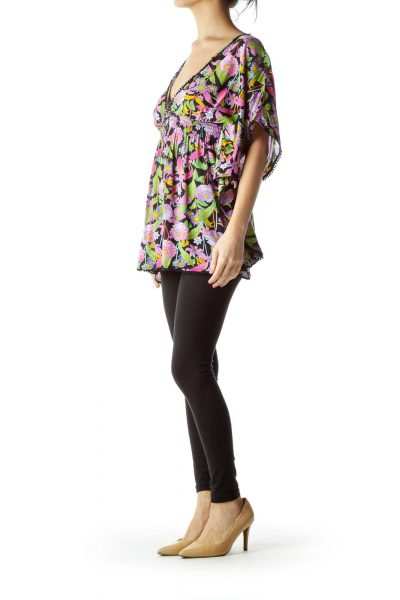Purple Green Flower Print Blouse