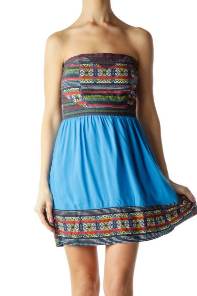 Blue Red Tribal Print Strapless Day Dress