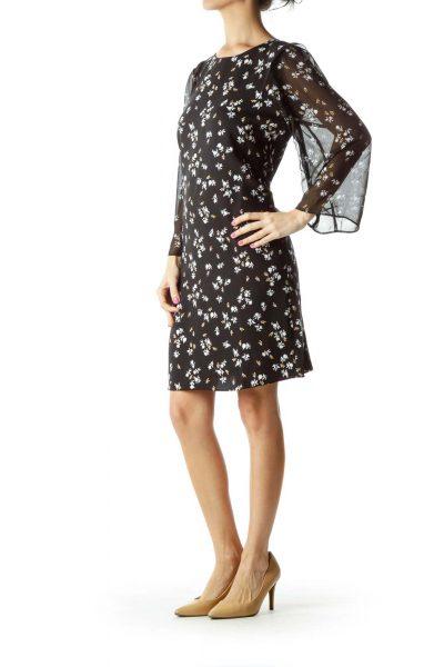 Black White Flower Print Day Dress