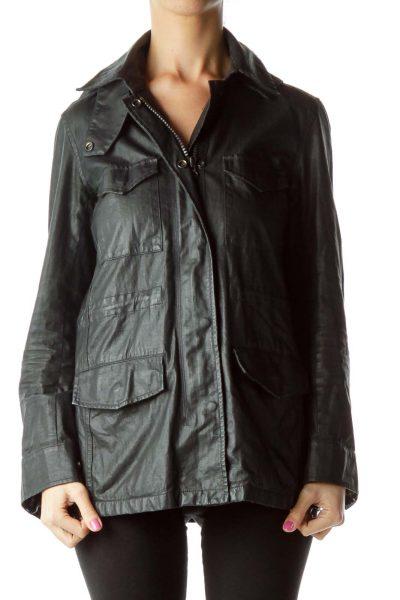 Black Hooded Denim Jacket with Pockets