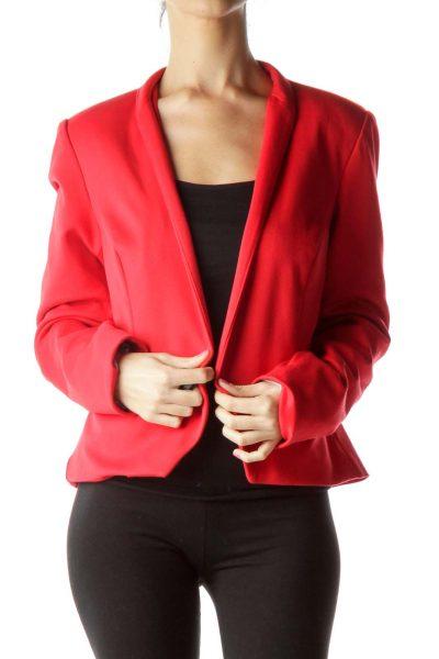 Red Shoulder Blazer with Shoulder Pads
