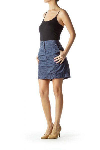 Blue Pocketed Mini Skirt