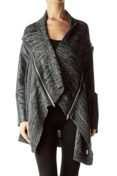 Gray Black Knit Faux-Leather Zippered Sweater