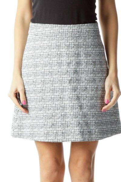 White Black A-Line Tweed Skirt