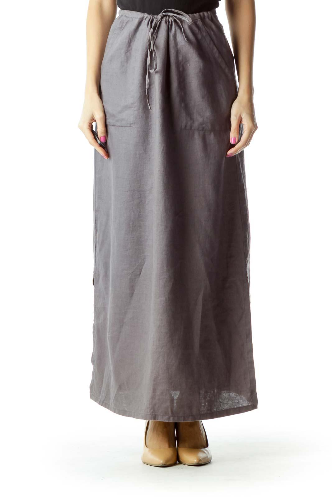 Purple Linen Maxi Skirt