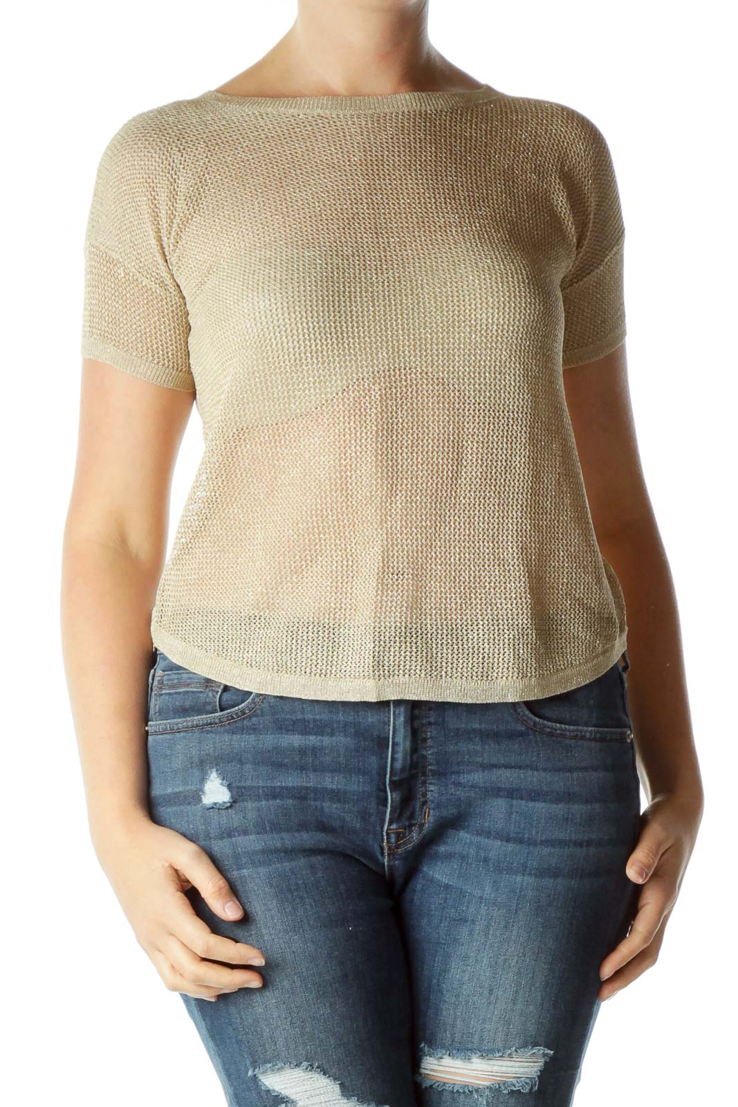 Biege Gold Cable Knit Sheer Blouse