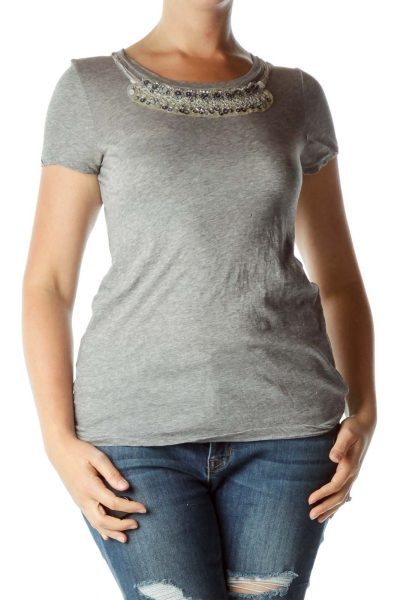 Gray Silver Sequined T-Shirt