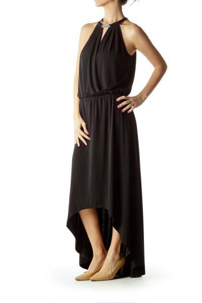 Black Surplice Long Cocktail Dress