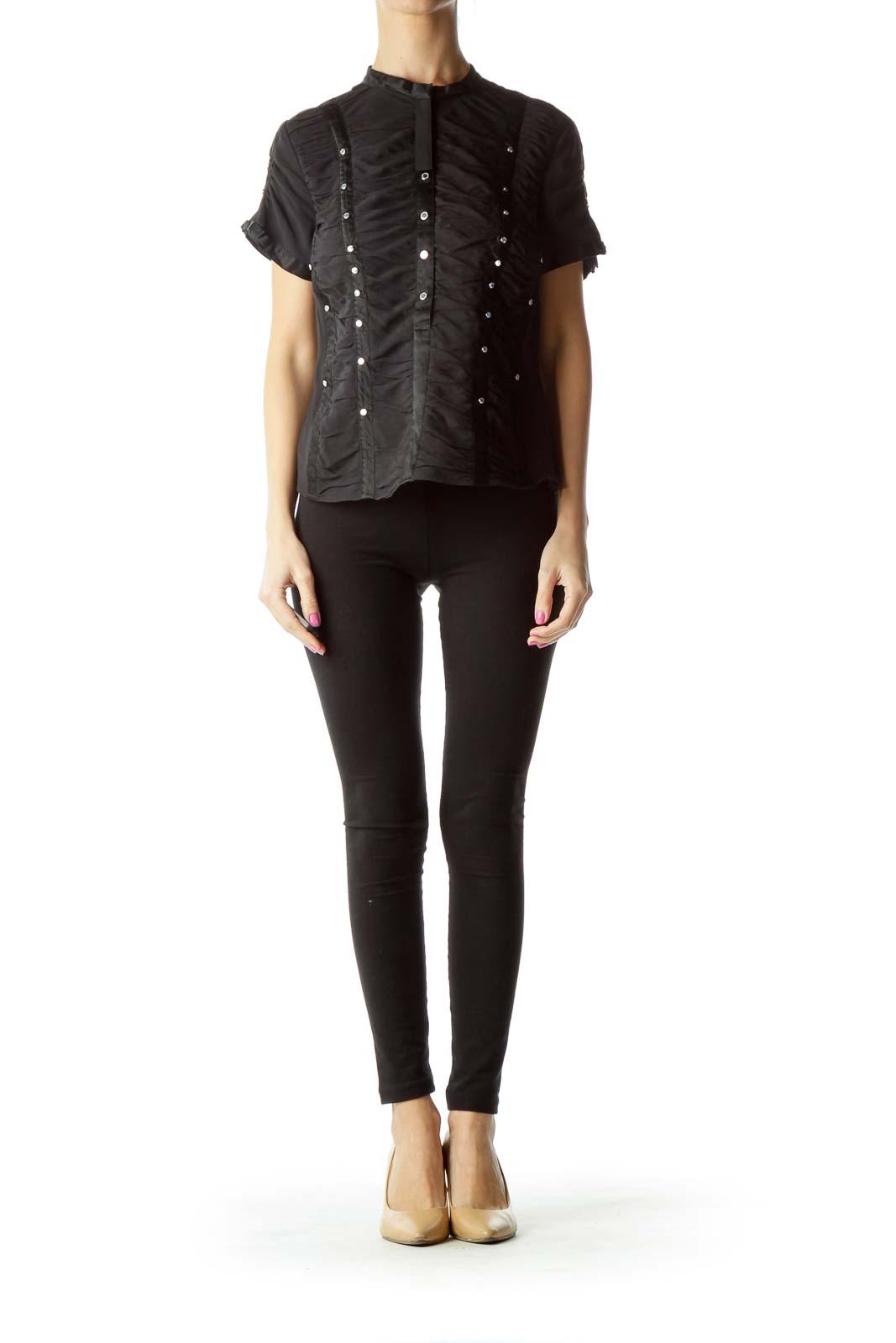 Black Silk Corset Style Blouse