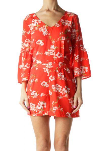 Orange Flower Print Bell Sleeve Romper