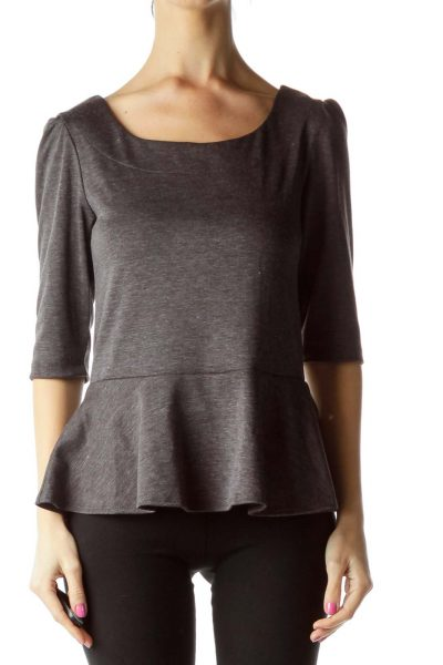 Gray Mottled 3/4 Sleeve Peplum Top